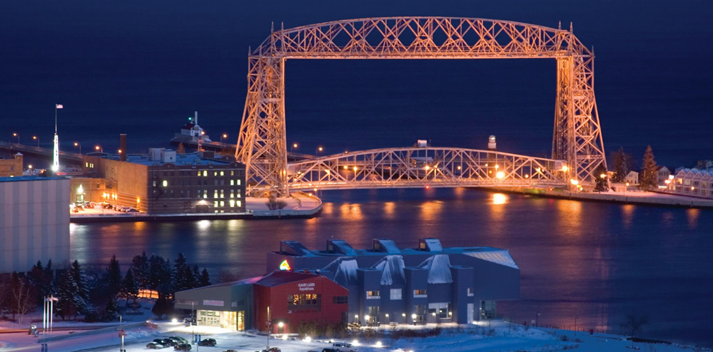 lift bridge at night